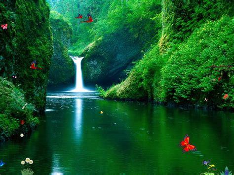 green waterfalls screensaver  windows  waterfalls