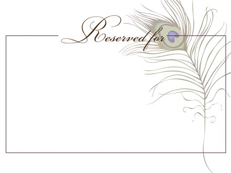 reserved cards for tables templates signatures by peacock wedding stationary for debora