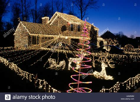 entire house and yard decorated with lights