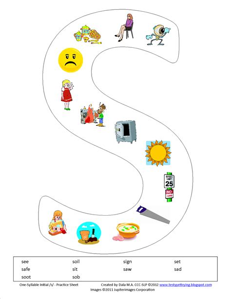 S Articulation Worksheets testy yet trying one syllable initial s printable worksheet