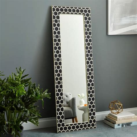 bone inlaid floor mirror black west elm