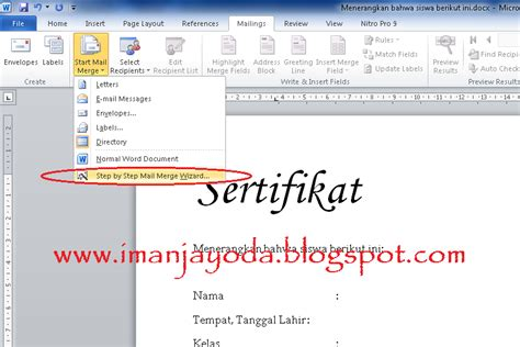 membuat mail merge di word 2010 tutorial membuat mail merge di ms word 2010 iman jayoda