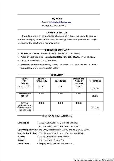 professional resume format for freshers free professional resume for freshers free sles exles