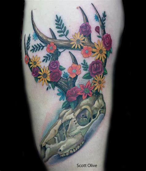 floral deer skull by scott olive tattoos