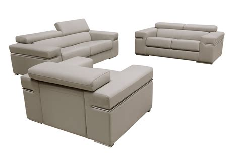 divani casa atlantis modern light grey bonded leather sofa set
