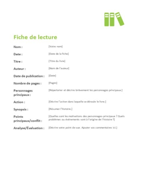 fiche de lecture office templates