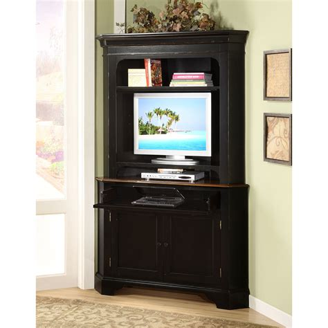 computer cabinet armoire riverside crossroads corner laptop computer cabinet with optional hutch black