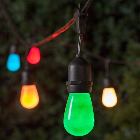 Commercial Outdoor Patio String Lights Commercial Patio String Lights Multicolor S14 Opaque Bulbs Suspended Yard Envy