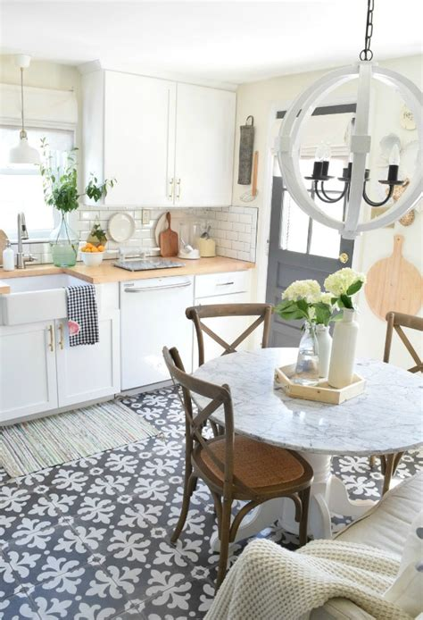 Kitchen Cabinets Modern Style by Pretty Ethnic Patterned Kitchen Floor Tile Design In A