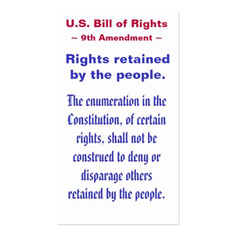Bill Of Rights Section 9 Explanation by U S Bill Of Rights Ninth 9th Amendment Business