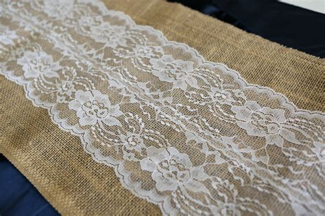 Burlap Table Runner With Lace by Burlap And Lace Table Runner White 12 Wide X