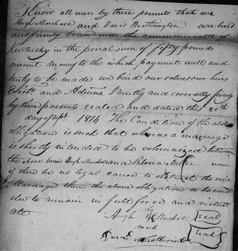 Preble County Ohio Marriage Records Hugh Marshall And Kesiah