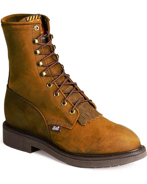 mens justin work boots justin s original 8 quot lace up work boot steel toe 767