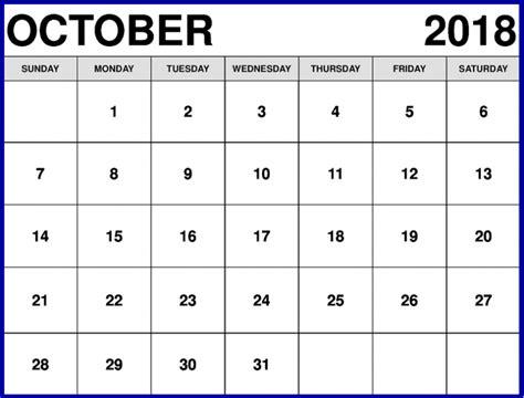 printable calendar 2018 europe free october 2018 calendar printable template us canada uk