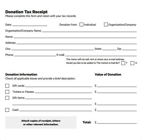 printable tax receipts for donations 15 donation receipt template sles templates assistant