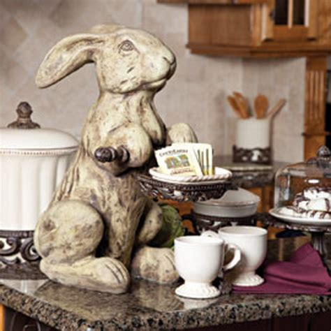 rabbit home decor cast stone rabbit cream traditional home decor