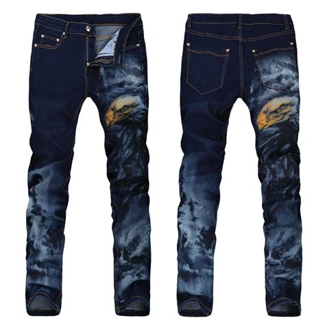 jeans pattern new new men italy style vintage stretch cotton eagle pattern