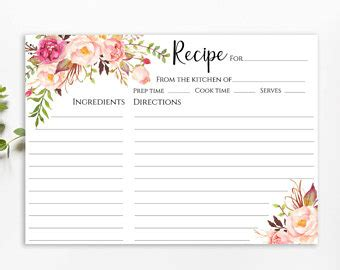 Bridal Shower Recipe Card Template Free by Recipe Cards Etsy