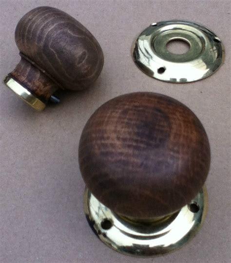 restored antique vintage wood brass door knobs
