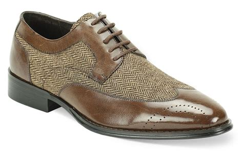 s dress casual shoes brown wing tip leather tweed 6484 size 9 5 ebay