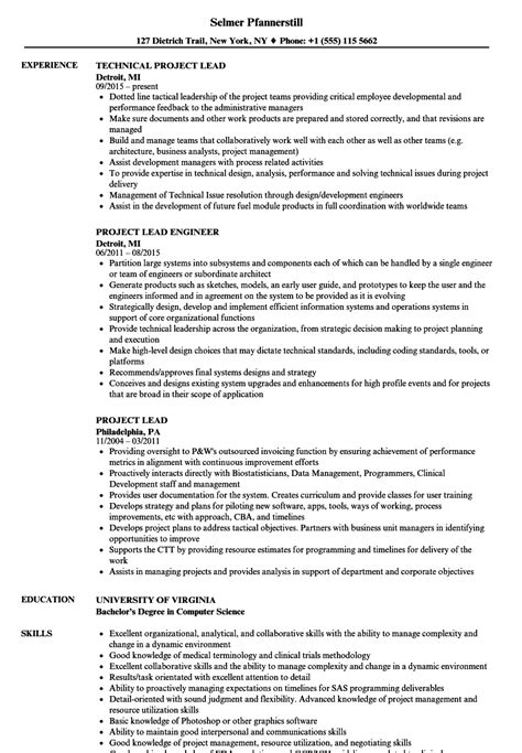 project lead resume format project lead resume sles velvet
