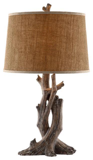 Cusworth Resin Natural Wood Table Lamp   Contemporary