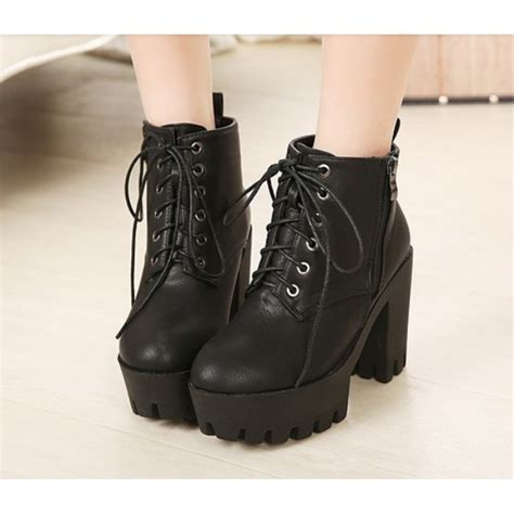 black leather tread platform lace up heel boots