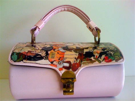 decoupage leather vintage decoupage purse up cycled collage leather
