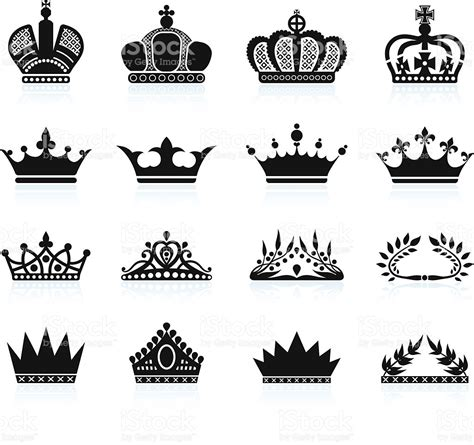 royal crown and tiara royalty free vector icon set stock