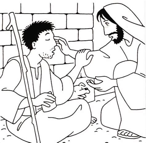jesus heals the blind man coloring page coloring pages