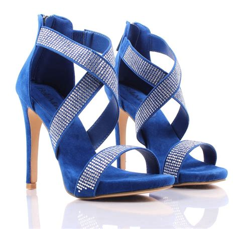 rhinestones high heels royal blue rhinestones crossing high heel sandals