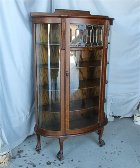 beveled glass china cabinet bargain s antiques 187 archive oak curved glass