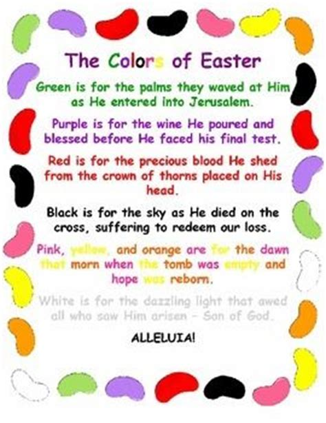 colored meaning jesus the colors of easter jelly bean poem christian activities