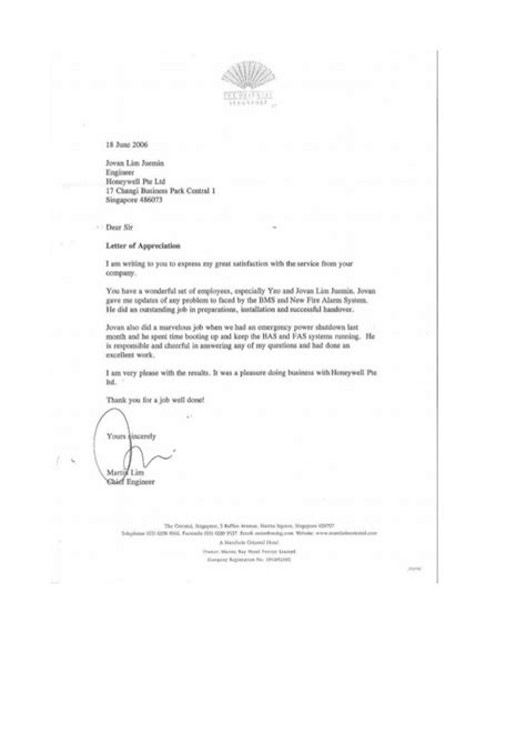 appreciation letter from client to company letter of appreciation client company the hotel