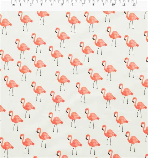 Flamingos (Ivory) Cotton Lawn Fabric by Cotton   Steel