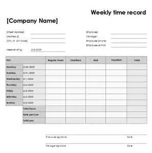 Time Recording Template free printable weekly timesheet template