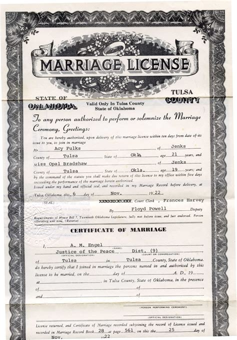Marriage Records Oklahoma Rdfulks Genealogy For Acy Andrew Fulks