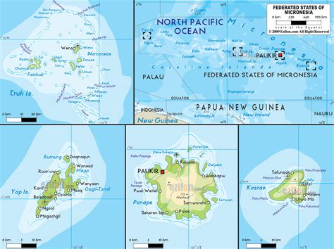 micronesia map physical map of micronesia ezilon maps