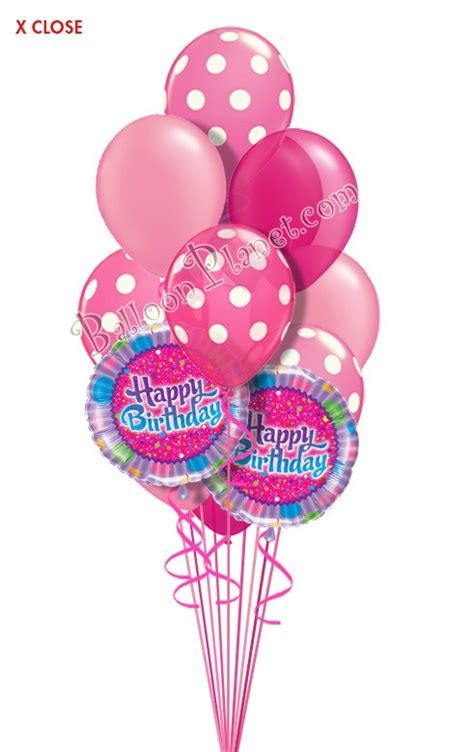 Dots in Pink Birthday Balloon Bouquet (14 Balloons