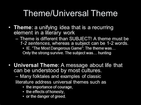 universal themes in literature definition literary elements in horror unit ppt download