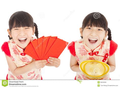 child s happy chinese new year child showing red envelope and