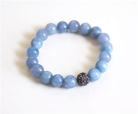 aquamarine bracelet beaded bracelet stretch