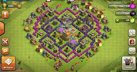 coc strong layout level 7 defensive base clash of clans pinterest