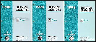 best car repair manuals 1998 chevrolet prizm electronic valve timing 1998 chevy geo prizm repair shop manual original 3 volume set