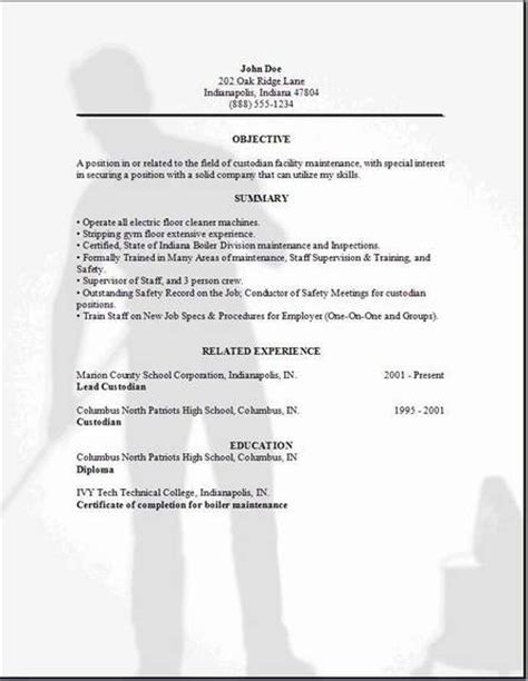 Sle Resume For Custodian At School Custodian Resume Exles Sles Free Edit With Word