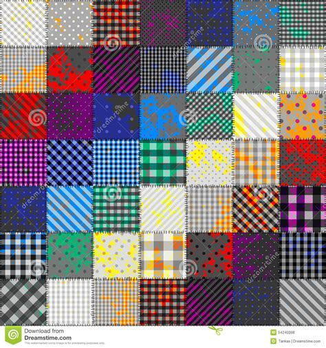 patchwork of fabric in rainbow colors stock vector image