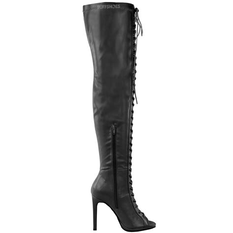 womens thigh high the knee platform lace up