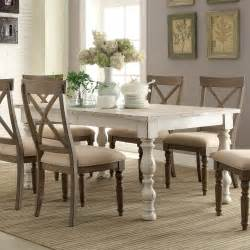 Hardwood Dining Room Furniture Aberdeen Wood Rectangular Dining Table And Chairs In Weathered Worn White By Riverside Furniture