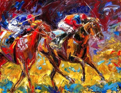 painting racing race painting equestrian colorful textrued by