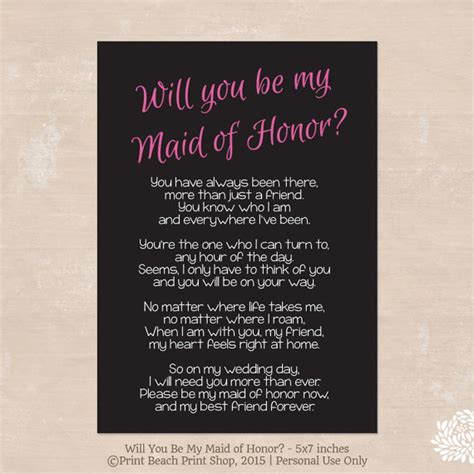would you be my poem will you be my of honor poem instant by palmbeachprints